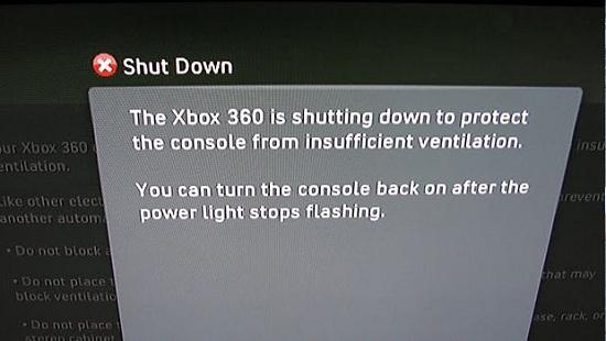 Xbox 360 Slim Overheating Message